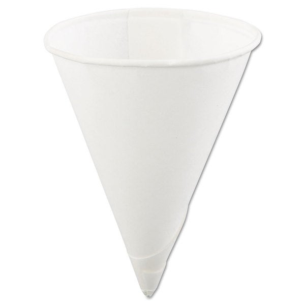 Konie Rolled-Rim Paper Cone Cups 4-ounce White 200/Bag 25 Bags/Carton 23059528