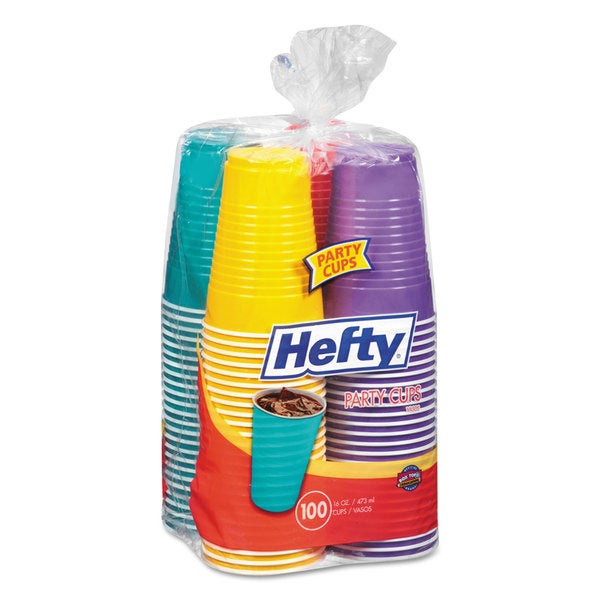 Hefty Easy Grip Disposable Plastic Party Cups 16-ounce Assorted 100/Pack 4 Pack/Carton 23059535