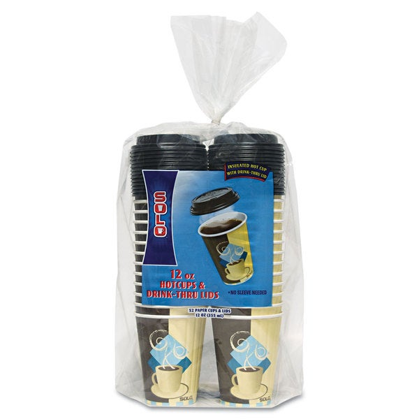 SOLO Cup Company Duo Shield Insulated Paper Hot Cups/Lids Combo Pack 12oz Tuscan 52/Pack 23059546