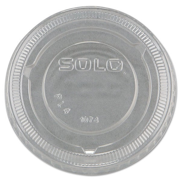 SOLO Cup Company No-Slot Plastic Cup Lids 3.25-9-ounce Cups Clear 100/Sleeve 25 Sleeves/Carton 23059586
