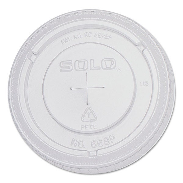 SOLO Cup Company PETE Flat Straw-Slot Cold Cup Lids 16-ounce Cups Clear 100/Pack 10 Packs/Carton 23059594