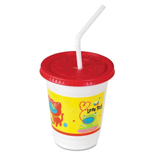 SOLO Cup Company Plastic Kids' Cups with Lids/Straws 12 -ounce Critter Print 250/Carton 23059600