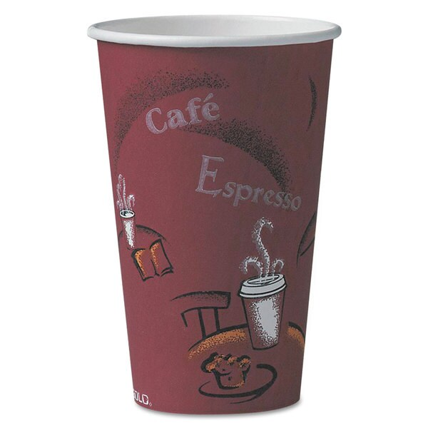 SOLO Cup Company Bistro Design Hot Drink Cups Paper 16oz Maroon 1000/Carton 23059613