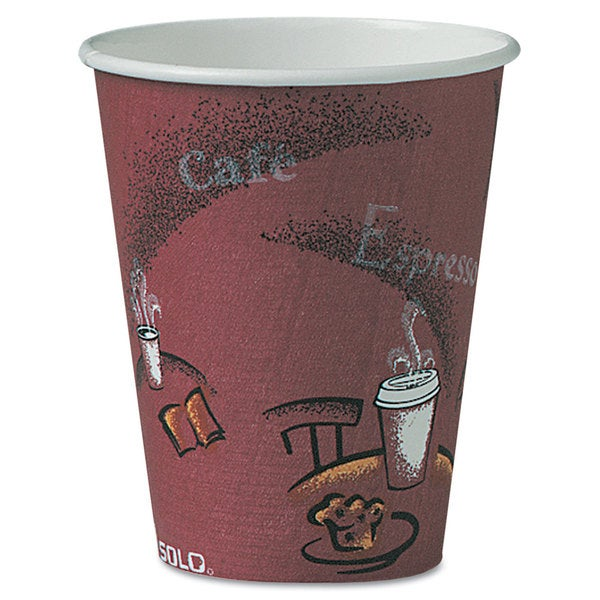 SOLO Cup Company Bistro Design Hot Drink Cups Paper 8-ounce Maroon 500/Carton 23059615