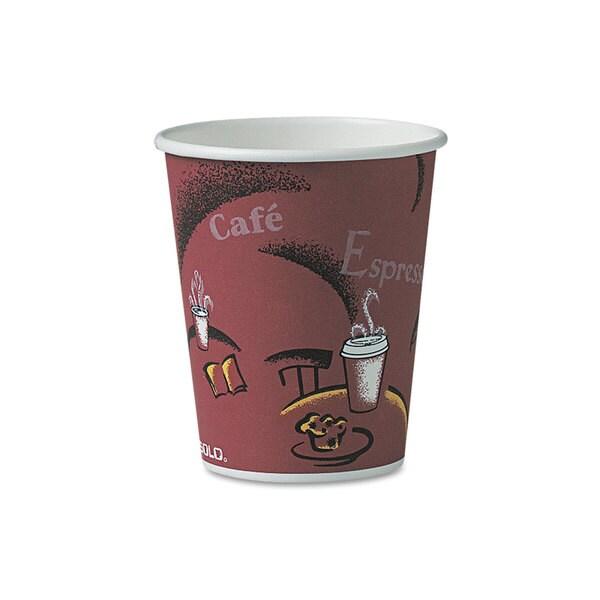 SOLO Cup Company Bistro Design Hot Drink Cups Paper 10oz Maroon 300/Carton 23059643