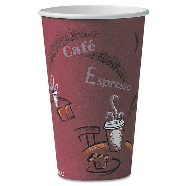 SOLO Cup Company Bistro Design Hot Drink Cups Paper 16oz Maroon 300/Carton 23059646