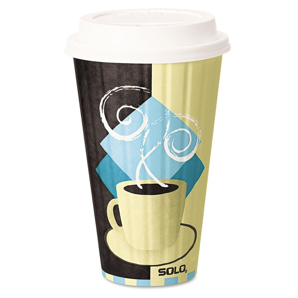 SOLO Cup Company Duo Shield Insulated Paper Hot Cups 16 -ounce Tuscan Chocolate/Blue/Beige 525/Carton 23059651