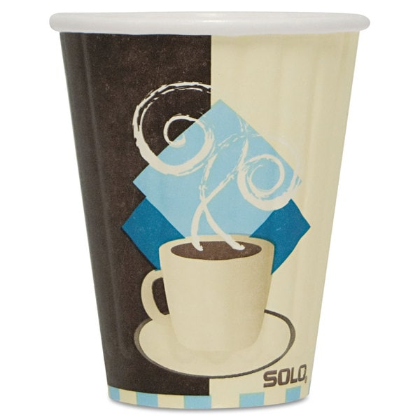 SOLO Cup Company Duo Shield Insulated Paper Hot Cups 8oz Tuscan Chocolate/Blue/Beige 1000/Carton 23059657