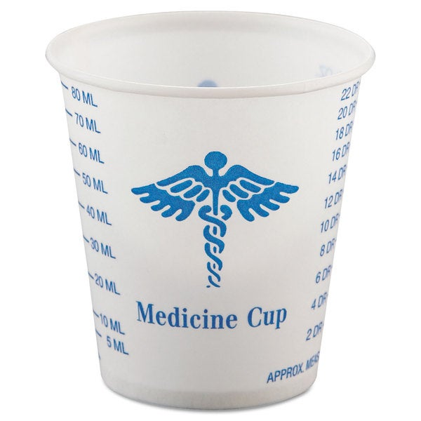SOLO Cup Company Paper Medical & Dental Graduated Cups 3oz White/Blue 100/Bag 50 Bags/Carton 23059672