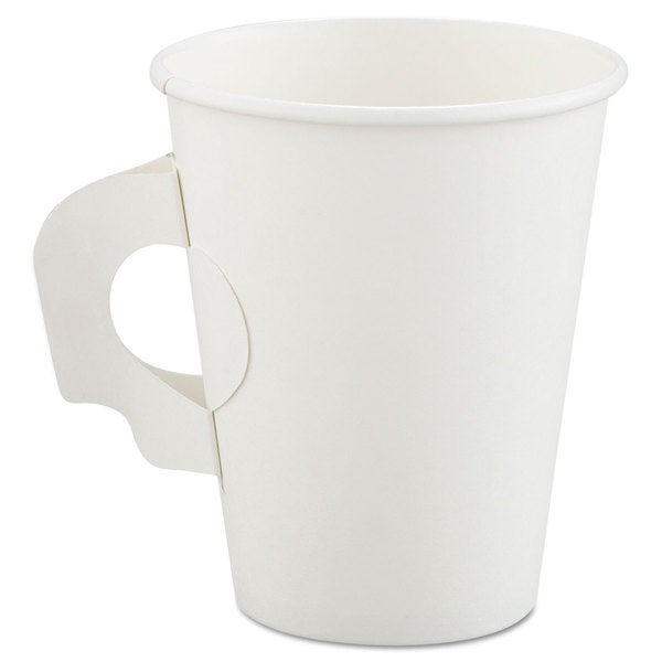 SOLO Cup Company Polycoated Hot Paper Cups with Handles 8 -ounce White 23059758