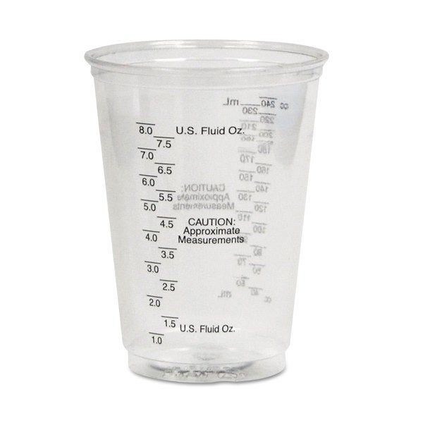 SOLO Cup Company Plastic Medical and Dental Cups Graduated 10 -ounce Clear 50/Bag 20 Bags/Carton 23059896