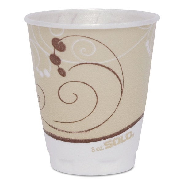 SOLO Cup Company Symphony Design Trophy Foam Hot/Cold Drink Cups 8-ounce 300/Carton 23061311