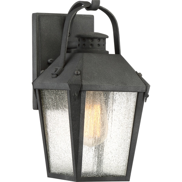 Quoizel Carriage Mottled Black Metal Glass Small Wall Lantern 23061857