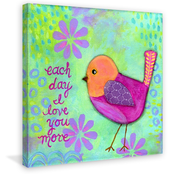 Marmont Hill - 'Pink Bird Amber' by Jill Lambert Painting Print on Wrapped Canvas 23063021