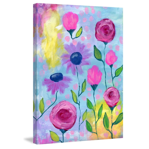 Marmont Hill - 'Flowers Pink Purple' by Jill Lambert Painting Print on Wrapped Canvas 23063220