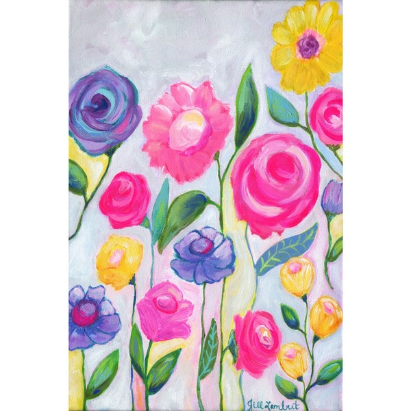 Marmont Hill - 'Flowers Grey' by Jill Lambert Painting Print on Wrapped Canvas 23063232
