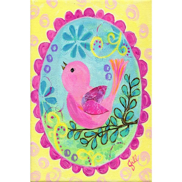 Marmont Hill - 'Pink Bird Sings' by Jill Lambert Painting Print on Wrapped Canvas 23063341