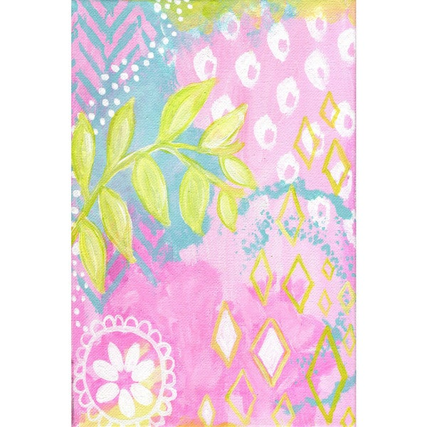 Marmont Hill - 'Pink Abstract Leaves' by Jill Lambert Painting Print on Wrapped Canvas 23063402