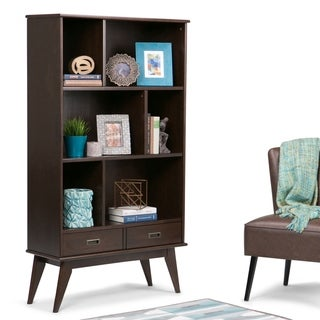 "WYNDENHALL Tierney SOLID HARDWOOD 64 inch x 35 inch Mid Century Modern Wide Bookcase and Storage Unit - 35""w x 14""d x 64"" h"