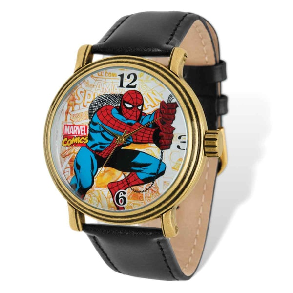 Marvel Stainless Steel Men's Spiderman Black Leather Band Watch 23077692