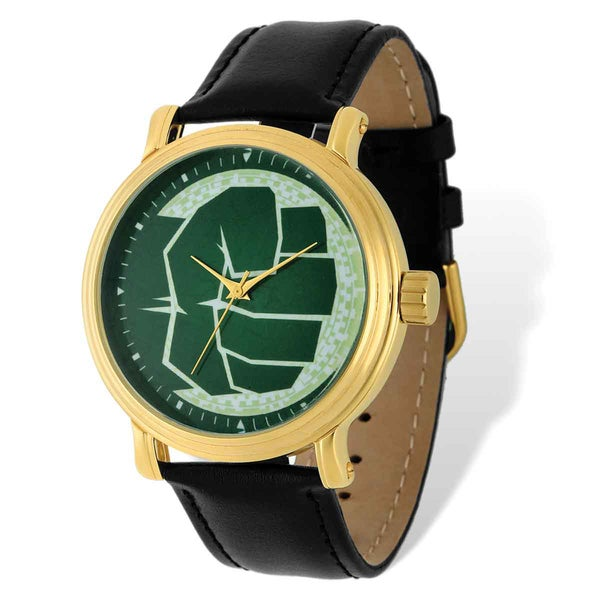 Marvel Stainless Steel Men's Hulk Black Leather Band Gold-tone Watch 23079389
