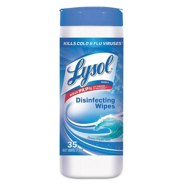 LYSOL Brand Disinfecting Wet Wipes Ocean Fresh 7 x 8 White 35/Canister 12/Carton 23080113