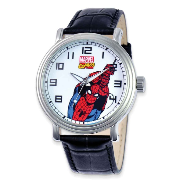Marvel Stainless Steel Men's Spiderman Black Leather Strap Watch 23080132