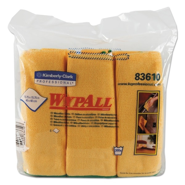 WypAll Cloths with Microban Microfiber 15 3/4 x 15 3/4 Yellow 24/Carton 23080589