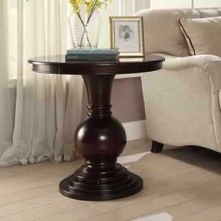 Copper Grove Angelina Brown Wood and Veneer Round Contemporary Accent Table