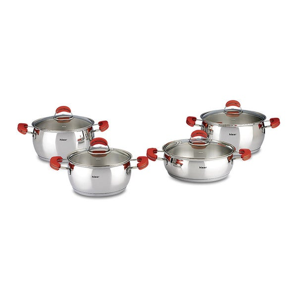 Monaco 8-piece Red Stainless Steel Cookware Set by Hisar 23085036