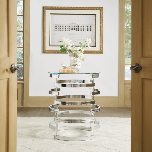 Nova Modern Glam Round Glass Top Metal Foyer Table by iNSPIRE Q Bold 23085547