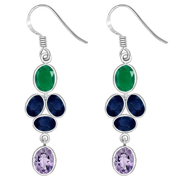Orchid Jewelry 925 Sterling Silver 11 2/3 Carat Amethyst, Sapphire and Emerald Earrings 23090460