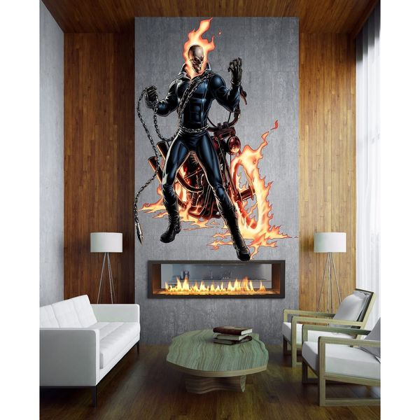Full color decal Skeleton and bike sticker, Skeleton Decal, wall art decal Sticker Decal size 44x70 23090823