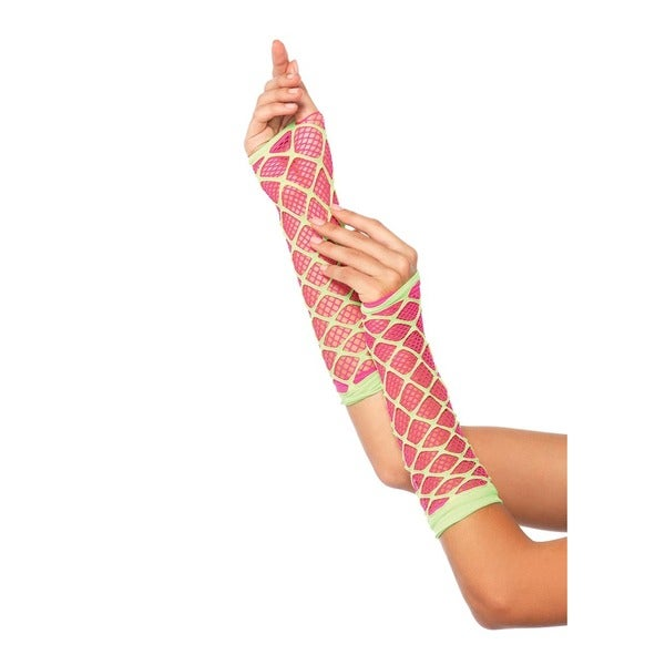 Leg Avenue Pink Dual Net Neon Arm Warmers 23099099