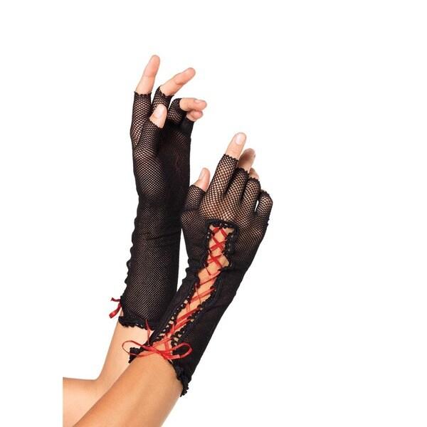 Leg Avenue Black Fishnet Lace Up Fingerless Gloves 23099465