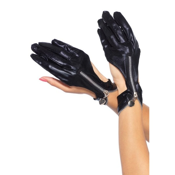 Leg Avenue Wet Look Zipper Cutout Black Motorcycle Gloves With Heart Pull 23099829