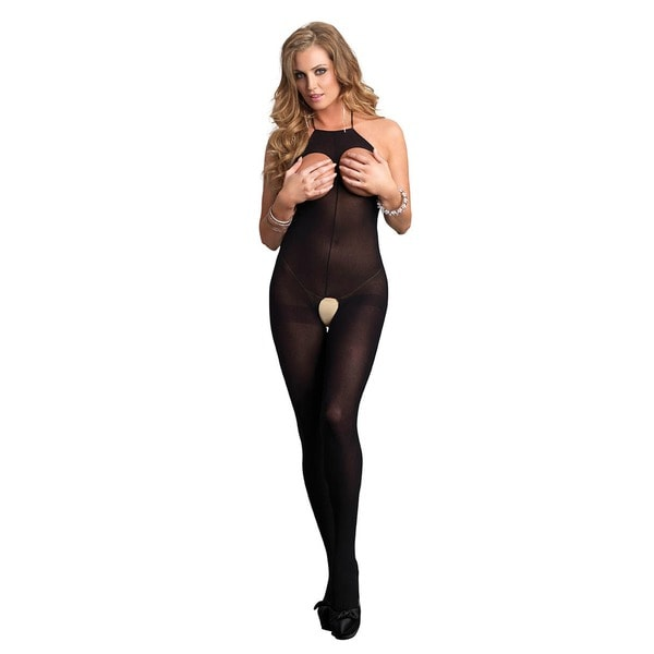 Leg Avenue Women's Halter Opaque Black Open Cup Bodystocking 23100110