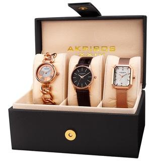 Akribos XXIV Women's Diamond Crystal Triple Watch Set