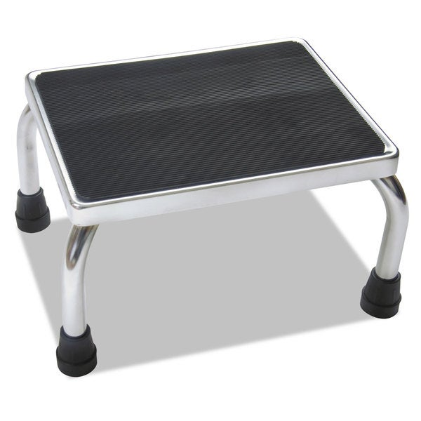 Medline Foot Stool 16-inch wide x 12-inch deep x 8 1/4-inch high Steel Chrome/Black Mat 23103068