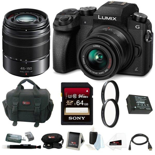Panasonic LUMIX G7 Mirrorless Digital Camera with 14-42mm & 45-150mm Lenses plus Sony 64GB SDXC Accessory Bundle 23150977