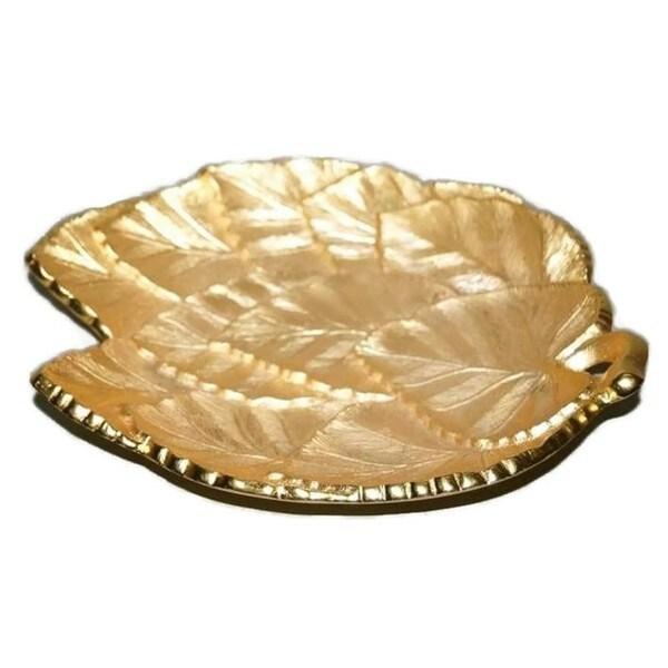 """Elegance Multi Leaf Tray - GP Brass  L: 4.75"""" 23182314"""