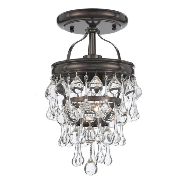 Crystorama Calypso Collection 1-light Vibrant Bronze Semi Flush Mount 23186336