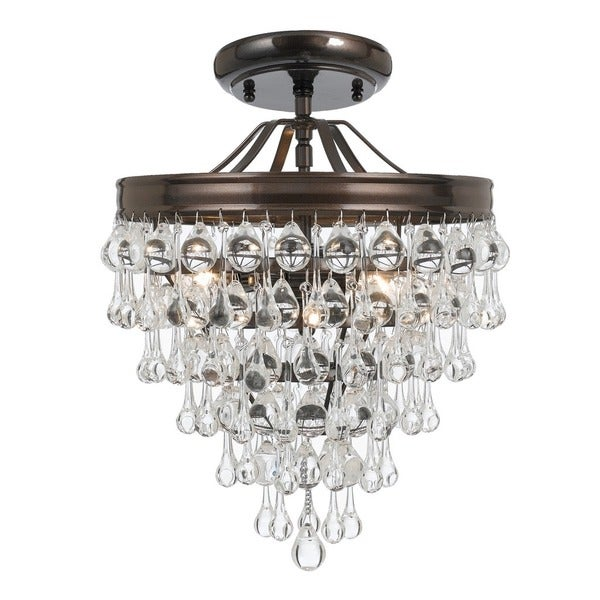 Crystorama Calypso Collection 3-light Vibrant Bronze Semi Flush Mount 23186338