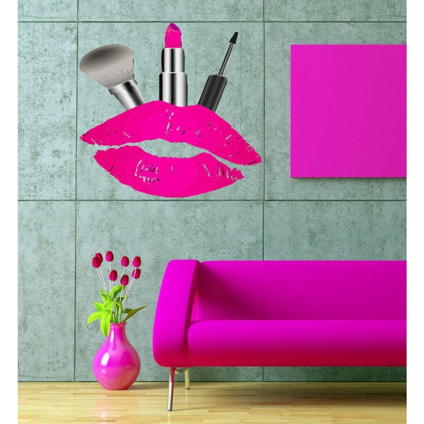 Full color decal Lips lipstick kiss cosmetics sticker, wall art decal Sticker Decal size 22x26 23190026
