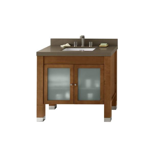 Ronbow Devon Six Inch Cinnamon Bathroom Vanity Set With Quartz Countertop And Backsplash Free