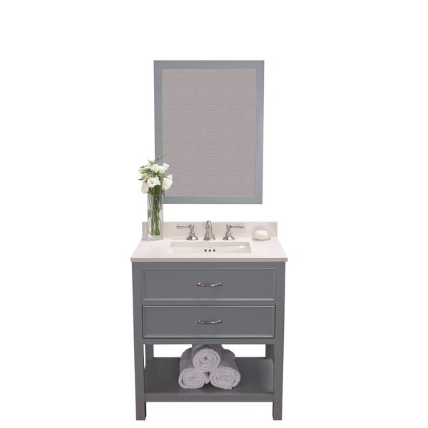 Ronbow Newcastle  Inch Ocean Grey Bathroom Vanity Set With Mirror Quartz Countertop And