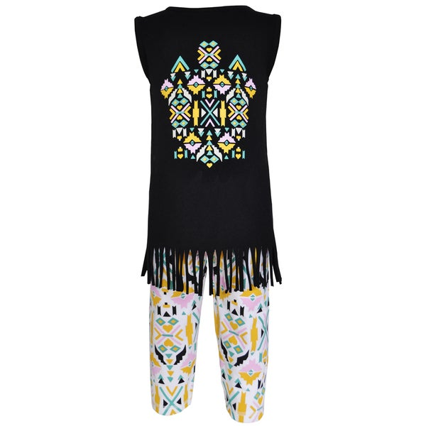 AnnLoren Girl's Boutique Cotton Tribal Tunic and Legging Capri Set 23197292