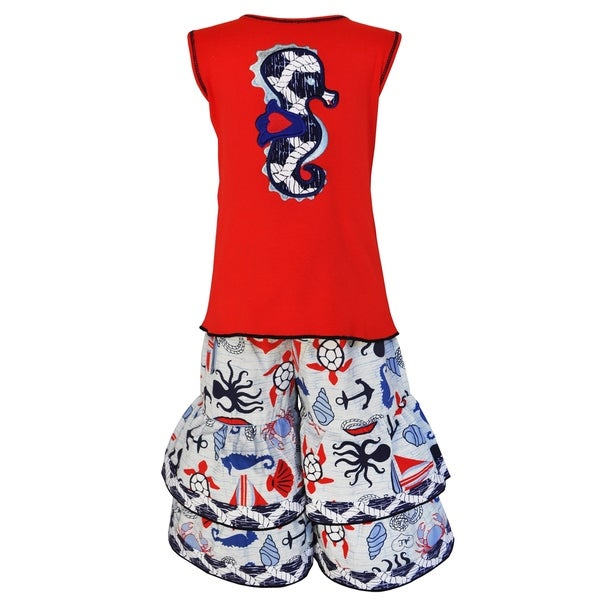 AnnLoren Girls' Boutique Nautical Seahorse Tunic and Capri Outfit 23197655