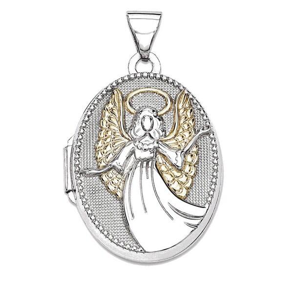 Sterling Silver Oval Guardian Angel Locket 23201829