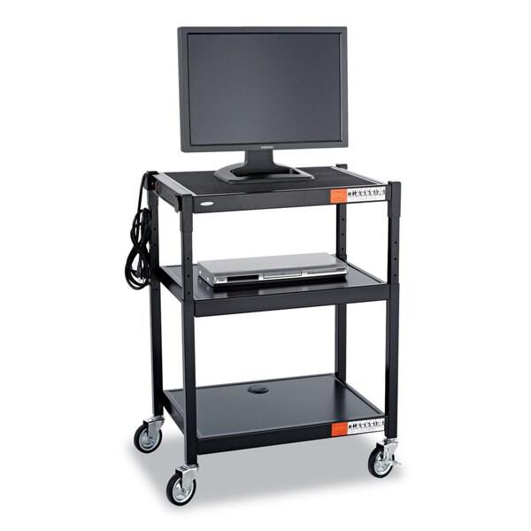 Safco Adjustable-Height Steel AV Cart 27-1/4-inch wide x 18-1/4-inch deep x 28-1/2 to 36-1/2-inch high Black 23219392